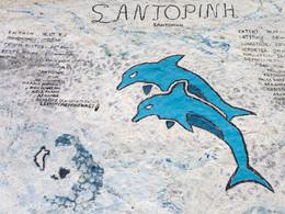 Da hat sich jemand die Mühe gemacht, etwas über Santorin zu malen. (c) Tobias Schorr, April 2017