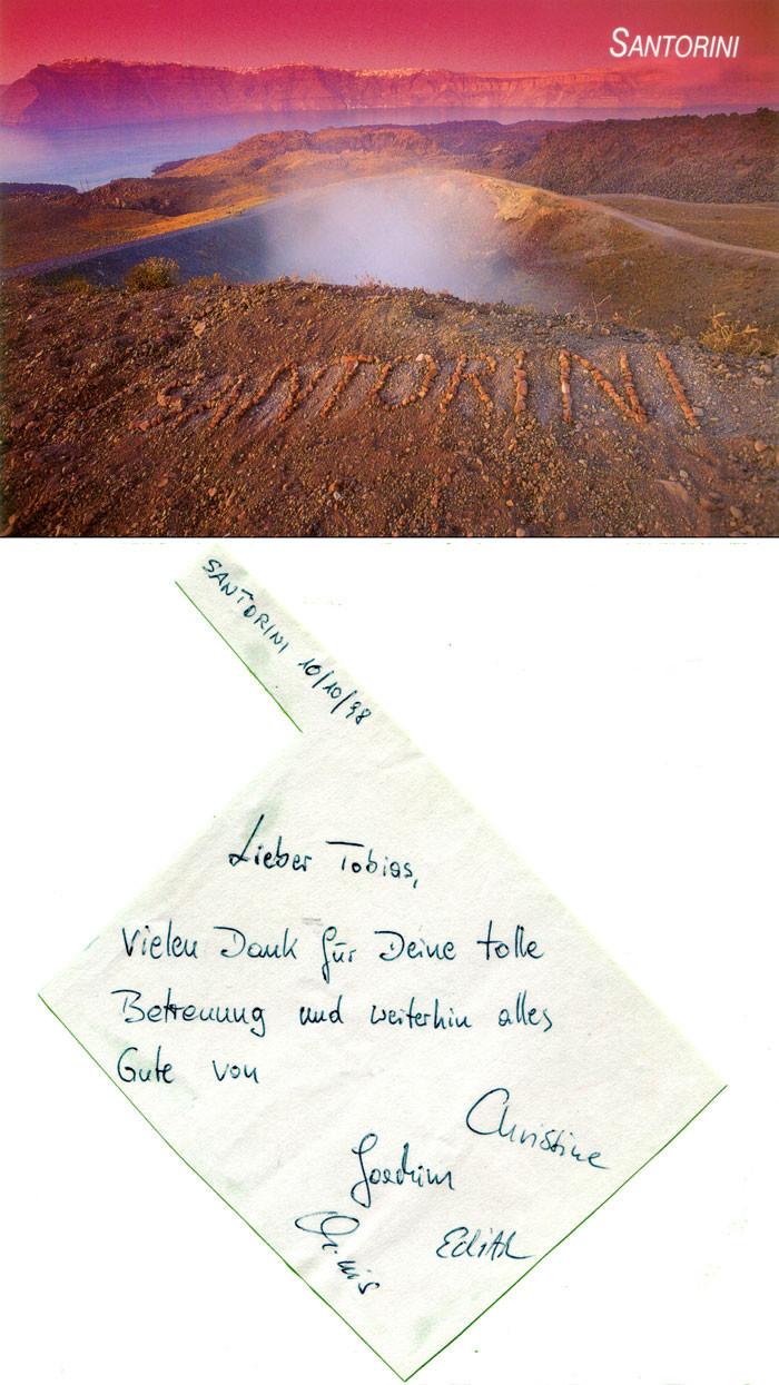 Rückmeldung über eine der Santorinreisen, die Tobias Schorr geführt hat. Darüber ist ein Foto, dass er 1994 für den griechischen Postkartenverlag Edition ADAM fotografiertt hat.