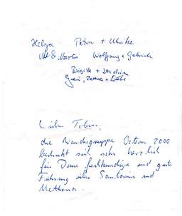 Gäste, die an der Santorin und Methana Reise in 2000 teilnahmen, bedanken sich für die tolle Führung mit Tobias Schorr